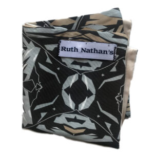black folded pocket square with grey, tan and white floral print