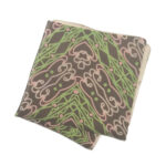 Light brown pocket square with green and pink abstract pattern