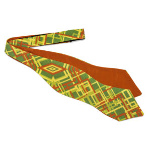 untied Green bow tie with orange and yellow abstract geometric pattern