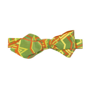 tied Green bow tie with orange and yellow abstract geometric pattern