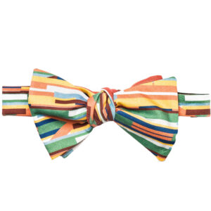 tied Multi color stripe bow tie with pink on reverse side