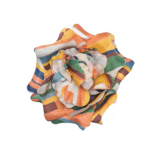 Multi color stripe lapel flower