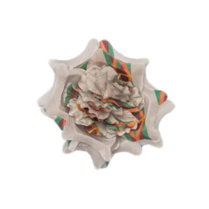 Grey lapel flower with orange and yellow stripe pattern