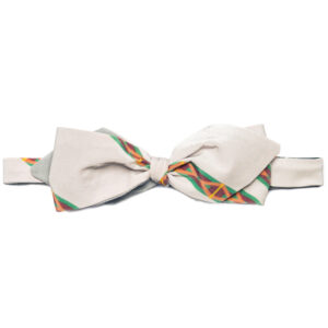 tied light grey silk bow tie with color stripe