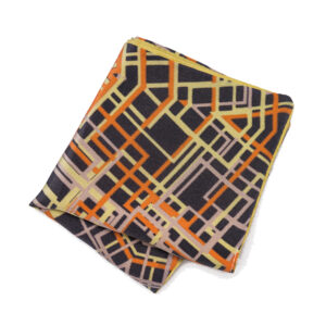 Purple pocket square with green and orange abstract geometric pattern