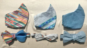 3 face mask matching bow tie