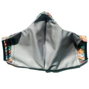 back view of multi color stripe cut on bias cotton mask