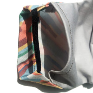 detail shot of pocket for a filter in cotton mask