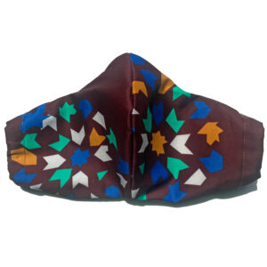 front view of Burgundy Cotton Mask with mint, gold, blue, and white tile print and elastic bands for ears