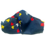Navy Cotton Mask with red, yellow, blue, black and white tile print and elastic bands for ears