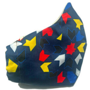 side view of Navy Cotton Mask with red, yellow, blue, black and white tile print