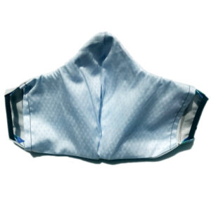 back view of grey mask with wide blue stripes and elastic bands for ears