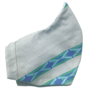 side view of grey mask with wide blue stripes and elastic bands for ears