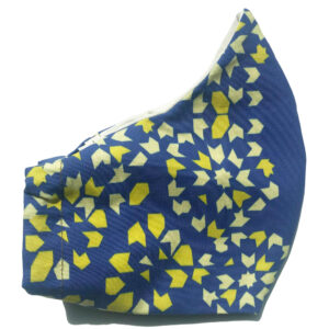 side view of Blue cotton mask with yellow tile accents