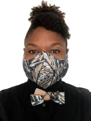 woman in black floral print mask front view and matching bow tie