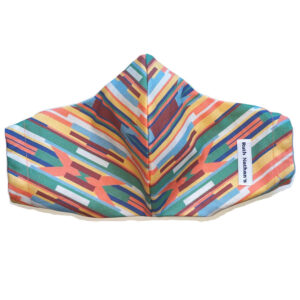 front view of multi color stripe cut on bias cotton mask