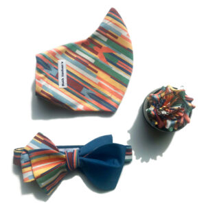Curved mask, jumbo reversible bow tie, and flower pin. multi color bright stripes