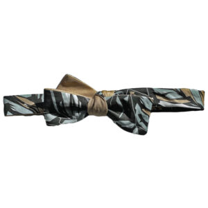 Black, tan, grey and white botanical printed batwing skinny bow tie (tied)