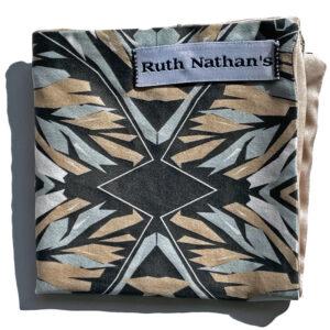 black folded pocket square with grey, tan and white botanical print